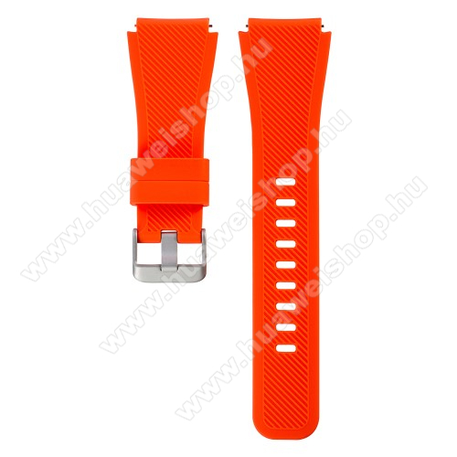 Okosóra szíj - NARANCS - szilikon, 19cm hosszú, 22mm széles - SAMSUNG Galaxy Watch 46mm / SAMSUNG Gear S3 Classic / SAMSUNG Gear S3 Frontier