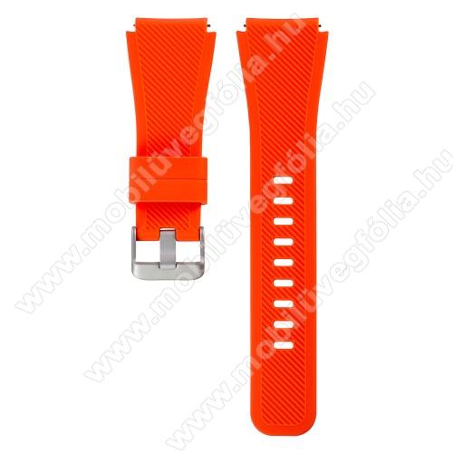 HUAWEI Honor MagicWatch 2 46mmOkosóra szíj - NARANCS - szilikon, 19cm hosszú, 22mm széles - SAMSUNG Galaxy Watch 46mm / SAMSUNG Gear S3 Classic / SAMSUNG Gear S3 Frontier