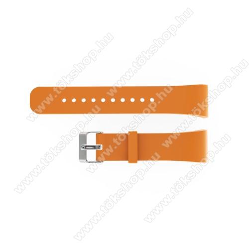Okosóra szíj - NARANCS - szilikon, 20cm hosszú és 2cm széles - SAMSUNG Gear Fit 2 SM-R360 / Samsung Gear Fit 2 Pro SM-R365 - 128.29mm + 72.07mm hosszú