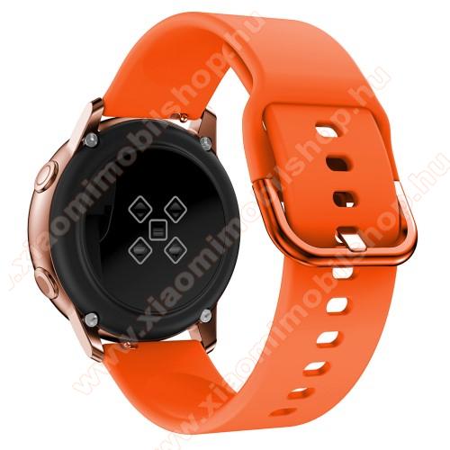 Huami Amazfit Youth Edition LiteOkosóra szíj - NARANCSSÁRGA - szilikon - 83mm + 116mm hosszú, 20mm széles, 130mm-től 205mm-es méretű csuklóig ajánlott - SAMSUNG Galaxy Watch 42mm / Xiaomi Amazfit GTS / SAMSUNG Gear S2 / HUAWEI Watch GT 2 42mm / Galaxy Watch Active / Active 2