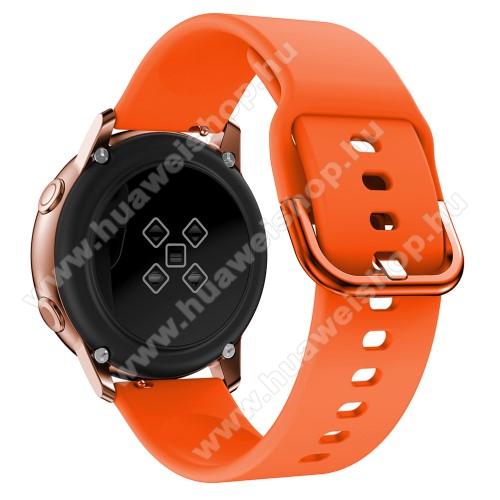 Okosóra szíj - NARANCSSÁRGA - szilikon - 83mm + 116mm hosszú, 20mm széles, 130mm-től 205mm-es méretű csuklóig ajánlott - SAMSUNG Galaxy Watch 42mm / Xiaomi Amazfit GTS / HUAWEI Watch GT / SAMSUNG Gear S2 / HUAWEI Watch GT 2 42mm / Galaxy Watch Active / Ac