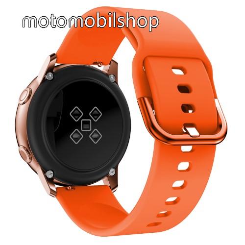 Okosóra szíj - NARANCSSÁRGA - szilikon - 83mm + 116mm hosszú, 20mm széles, 130mm-től 205mm-es méretű csuklóig ajánlott - SAMSUNG Galaxy Watch 42mm / Xiaomi Amazfit GTS / HUAWEI Watch GT / SAMSUNG Gear S2 / HUAWEI Watch GT 2 42mm / Galaxy Watch Active / Ac