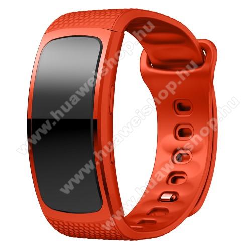 Okosóra szíj - NARANCSSÁRGA - szilikon, L-es méret, 90mm+123mm hosszú, 150mm-től 213mm-es méretű csuklóig ajánlott - SAMSUNG Gear Fit 2 SM-R360 / Samsung Gear Fit 2 Pro SM-R365