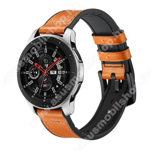 Okosóra szíj - NARANCSSÁRGA - valódi bőr - 80mm + 120mm hosszú, 22mm széles - HUAWEI Watch GT / HUAWEI Watch Magic / Watch GT 2 46mm