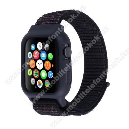 APPLE Watch Series 6 44mmOkosóra szíj / óra védő keret - szövet, tépőzáras, 22cm hosszú - FEKETE - APPLE Watch Series 3/2/1 42mm / APPLE Watch Series 4 44mm / APPLE Watch Series 5 44mm