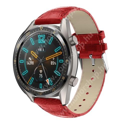 Okosóra szíj - PIROS - Krokodilbőr mintás, valódi bőr - 120 + 80mm hosszú, 22mm széles, 140-210mm-es csuklóig ajánlott - SAMSUNG Galaxy Watch 46mm / SAMSUNG Gear S3 Classic / Gear S3 Frontier / Honor MagicWatch 2 46mm