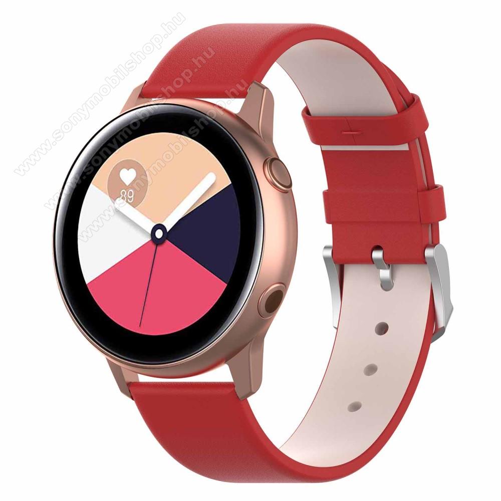 Okosóra szíj - PIROS - műbőr - 118.5mm + 88.55mm hosszú, 20mm széles - SAMSUNG Galaxy Watch 42mm / Xiaomi Amazfit GTS / SAMSUNG Gear S2 / HUAWEI Watch GT 2 42mm / Galaxy Watch Active / Active 2