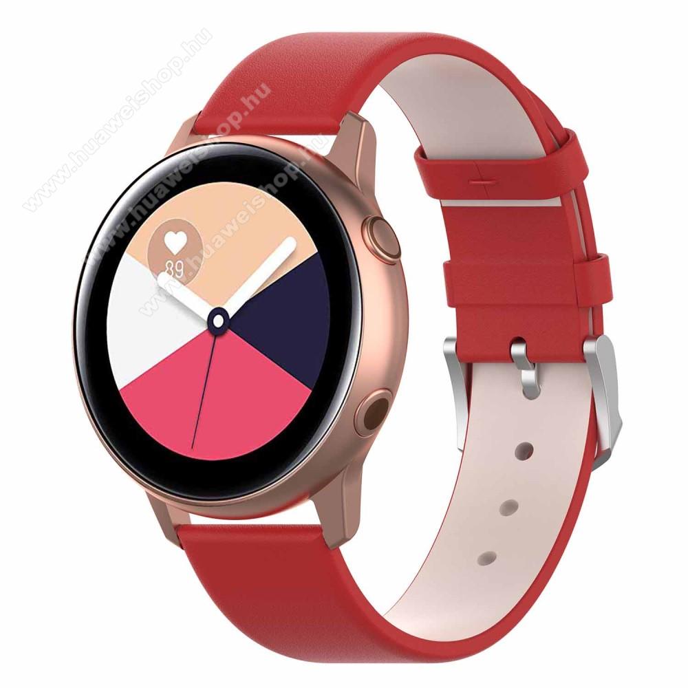 HUAWEI Honor MagicWatch 2 42mmOkosóra szíj - PIROS - műbőr - 118.5mm + 88.55mm hosszú, 20mm széles - SAMSUNG Galaxy Watch 42mm / Xiaomi Amazfit GTS / SAMSUNG Gear S2 / HUAWEI Watch GT 2 42mm / Galaxy Watch Active / Active 2