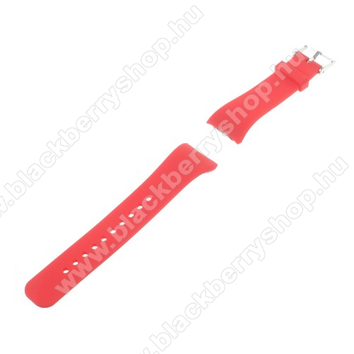 Okosóra szíj - PIROS - szilikon, 19,5cm hosszú és 2cm széles - SAMSUNG Gear Fit 2 SM-R360 / Samsung Gear Fit 2 Pro SM-R365