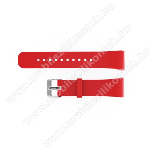 Okosóra szíj - PIROS - szilikon, 20cm hosszú és 2cm széles - SAMSUNG Gear Fit 2 SM-R360 / Samsung Gear Fit 2 Pro SM-R365 - 128.29mm + 72.07mm hosszú
