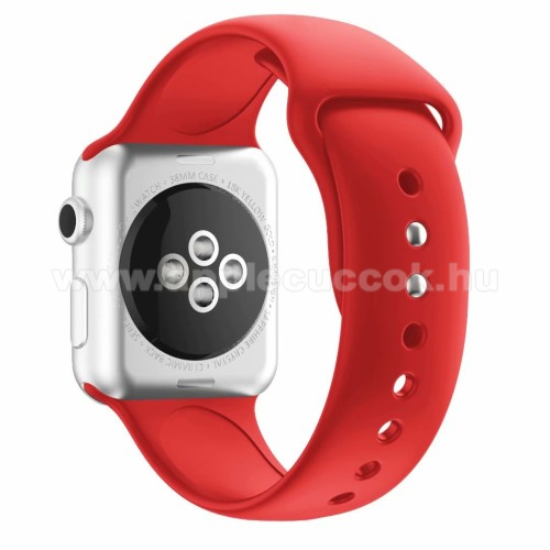 Apple Watch Series 5 44mm Okosóra szíj - PIROS - szilikon - APPLE Watch Series 3/2/1 42mm / APPLE Watch Series 4 44mm / APPLE Watch Series 5 44mm