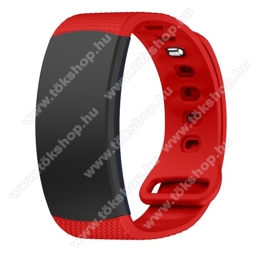 Okosóra szíj - PIROS - szilikon, L-es méret, 90mm+123mm hosszú, 150mm-től 213mm-es méretű csuklóig ajánlott - SAMSUNG Gear Fit 2 SM-R360 / Samsung Gear Fit 2 Pro SM-R365