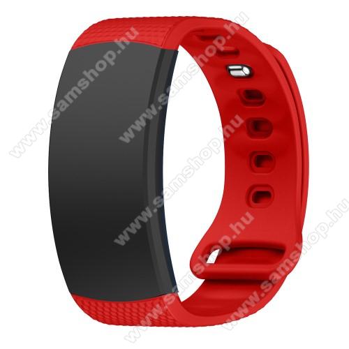 Okosóra szíj - PIROS - szilikon, S-es méret, 95mm+90mm hosszú, 126mm-től 175mm-es méretű csuklóig ajánlott - SAMSUNG Gear Fit 2 SM-R360 / Samsung Gear Fit 2 Pro SM-R365