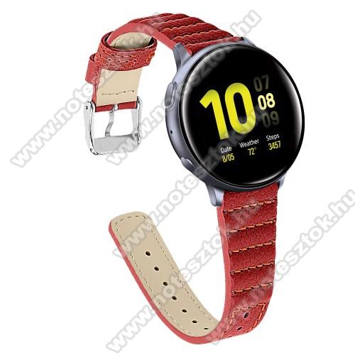 HUAWEI Honor MagicWatch 2 46mmOkosóra szíj - PIROS - valódi bőr, 115+75mm hosszú, 22mm széles - SAMSUNG SM-R800NZ Galaxy Watch 46mm
