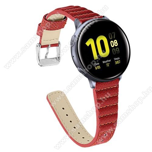 SAMSUNG SM-R600 Galaxy Gear SportOkosóra szíj - PIROS - valódi bőr, 115+75mm hosszú, 20mm széles - SAMSUNG Galaxy Watch 42mm / Xiaomi Amazfit GTS / HUAWEI Watch GT / SAMSUNG Gear S2 / HUAWEI Watch GT 2 42mm / Galaxy Watch Active / Active  2 / Galaxy Gear Sport