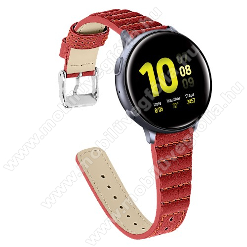 HUAWEI MagicWatch 2 42mm Okosóra szíj - PIROS - valódi bőr, 115+75mm hosszú, 20mm széles - SAMSUNG Galaxy Watch 42mm / Xiaomi Amazfit GTS / HUAWEI Watch GT / SAMSUNG Gear S2 / HUAWEI Watch GT 2 42mm / Galaxy Watch Active / Active  2 / Galaxy Gear Sport