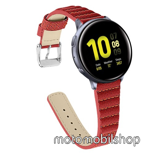 Okosóra szíj - PIROS - valódi bőr, 115+75mm hosszú, 20mm széles - SAMSUNG Galaxy Watch 42mm / Xiaomi Amazfit GTS / HUAWEI Watch GT / SAMSUNG Gear S2 / HUAWEI Watch GT 2 42mm / Galaxy Watch Active / Active  2 / Galaxy Gear Sport