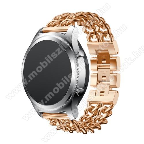 Okosóra szíj - ROSE GOLD - rozsdamentes acél, csatos - SAMSUNG Galaxy Watch 46mm / SAMSUNG Gear S3 Classic / SAMSUNG Gear S3 Frontier