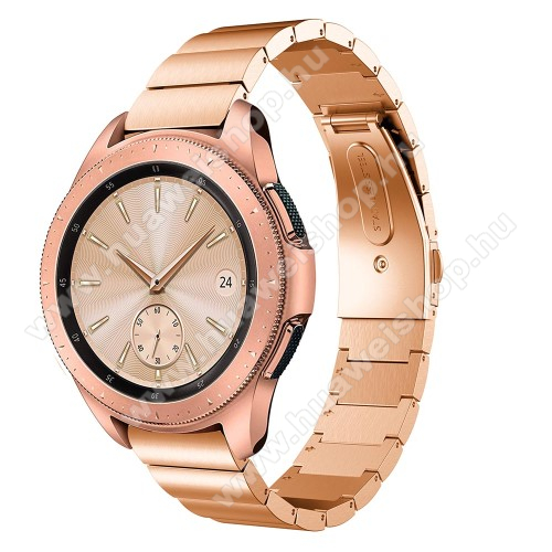 HUAWEI Watch GT 2 42mmOkosóra szíj - ROSE GOLD - rozsdamentes acél, csatos, 185mm hosszú, 20mm széles, max 215mm-es csuklóra - SAMSUNG Galaxy Watch 42mm