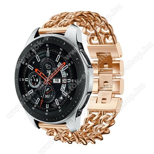 HUAWEI Honor MagicWatch 2 46mmOkosóra szíj - ROSE GOLD - rozsdamentes acél, csatos, 170mm hosszú, 22mm széles, max 208mm-es csuklóra - SAMSUNG Galaxy Watch 46mm / SAMSUNG Gear S3 Classic / SAMSUNG Gear S3 Frontier
