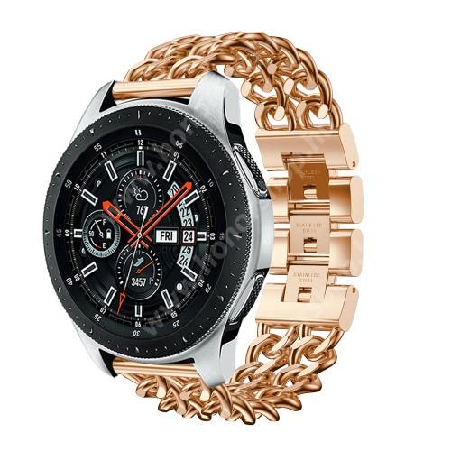 HUAWEI Honor MagicWatch 2 46mm Okosóra szíj - ROSE GOLD - rozsdamentes acél, csatos, 170mm hosszú, 22mm széles, max 208mm-es csuklóra - SAMSUNG Galaxy Watch 46mm / SAMSUNG Gear S3 Classic / SAMSUNG Gear S3 Frontier