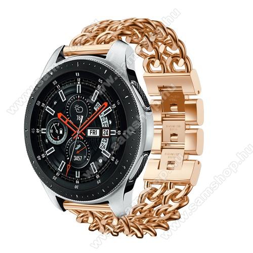 SAMSUNG SM-R760 Gear S3 FrontierOkosóra szíj - ROSE GOLD - rozsdamentes acél, csatos, 170mm hosszú, 22mm széles, max 208mm-es csuklóra - SAMSUNG Galaxy Watch 46mm / SAMSUNG Gear S3 Classic / SAMSUNG Gear S3 Frontier