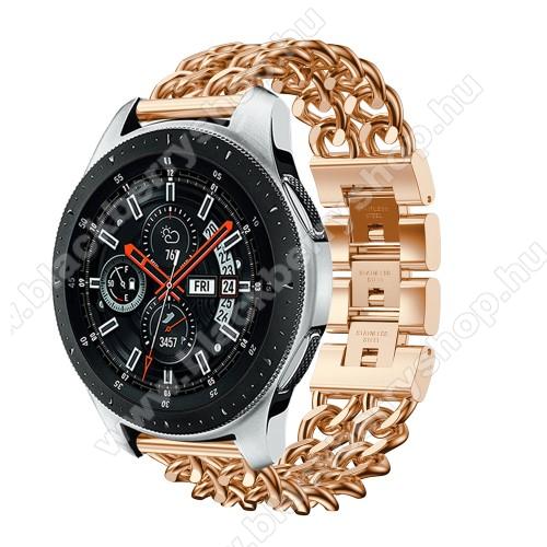 Okosóra szíj - ROSE GOLD - rozsdamentes acél, csatos, 170mm hosszú, 22mm széles, max 208mm-es csuklóra - SAMSUNG Galaxy Watch 46mm / SAMSUNG Gear S3 Classic / SAMSUNG Gear S3 Frontier