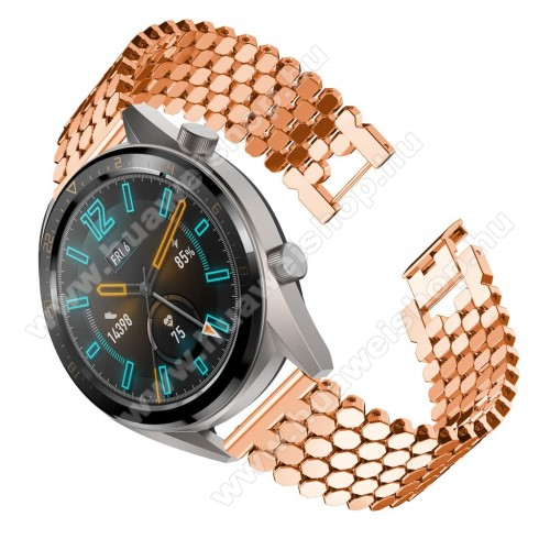 HUAWEI Watch Magic Okosóra szíj - ROSE GOLD - rozsdamentes acél, csatos - HUAWEI Watch GT / HUAWEI Honor Watch Magic / HUAWEI Watch 2 Pro