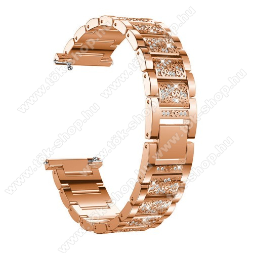 Okosóra szíj - ROSE GOLD - rozsdamentes acél, strassz köves minta, 22mm széles, 170-220mm-ig állítható - HUAWEI Watch GT / SAMSUNG Gear S2 (SM-R720) / HUAWEI Watch GT 2 46mm