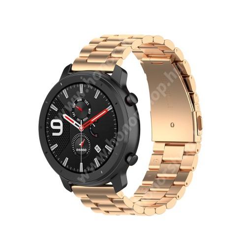 HUAWEI Honor MagicWatch 2 42mm Okosóra szíj - ROSE GOLD - rozsdamentes acél, pillangó csat - 190mm hosszú, 20mm széles, 155-205mm átmérőjű csuklóméretig - SAMSUNG Galaxy Watch 42mm / Xiaomi Amazfit GTS / SAMSUNG Gear S2 / HUAWEI Watch GT 2 42mm / Galaxy Watch Active / Active 2