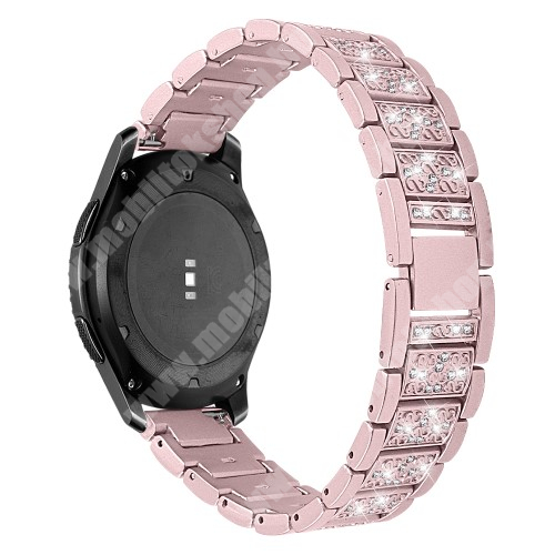Okosóra szíj - ROSE GOLD - rozsdamentes acél, strassz köves, 22mm széles -  HUAWEI Watch GT / HUAWEI Watch Magic / Watch GT 2 46mm / Honor MagicWatch 2 46mm