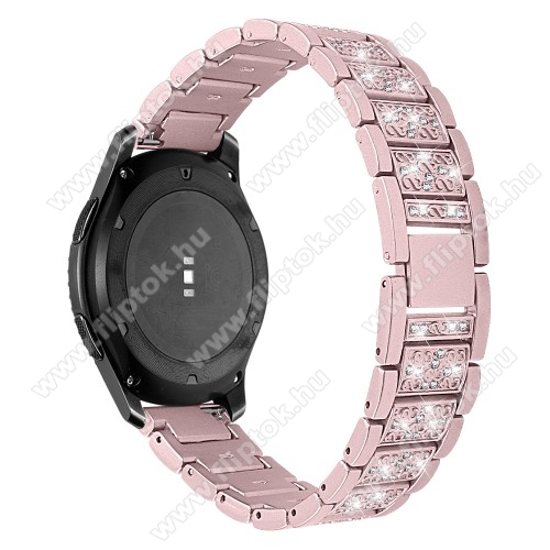 ZTE Watch GTOkosóra szíj - ROSE GOLD - rozsdamentes acél, strassz köves, 22mm széles -  HUAWEI Watch GT / HUAWEI Watch Magic / Watch GT 2 46mm / Honor MagicWatch 2 46mm
