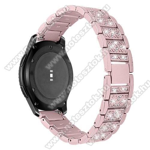Xiaomi Mi Watch (FOR GLOBAL MARKET)Okosóra szíj - ROSE GOLD - rozsdamentes acél, strassz köves, 22mm széles -  HUAWEI Watch GT / HUAWEI Watch Magic / Watch GT 2 46mm / Honor MagicWatch 2 46mm