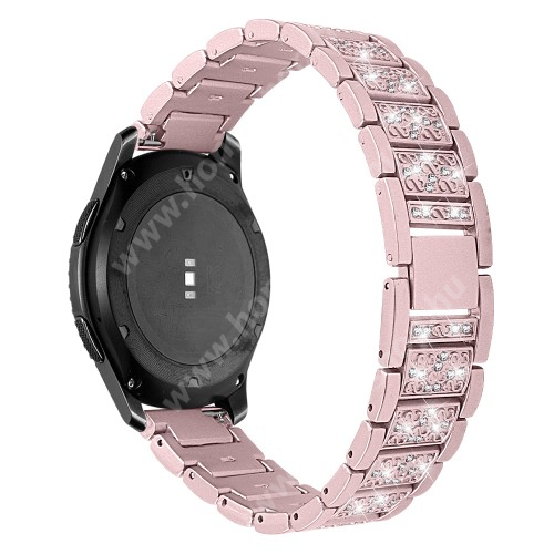 HUAWEI Honor MagicWatch 2 46mm Okosóra szíj - ROSE GOLD - rozsdamentes acél, strassz köves, 22mm széles -  HUAWEI Watch GT / HUAWEI Watch Magic / Watch GT 2 46mm / Honor MagicWatch 2 46mm