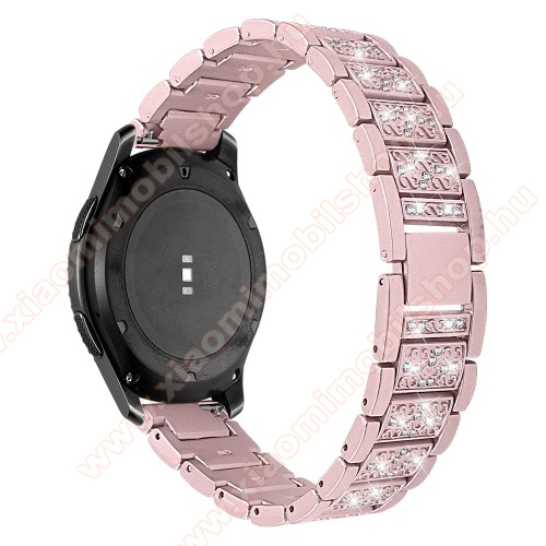 Xiaomi Amazfit Stratos 3Okosóra szíj - ROSE GOLD - rozsdamentes acél, strassz köves, 22mm széles -  HUAWEI Watch GT / HUAWEI Watch Magic / Watch GT 2 46mm / Honor MagicWatch 2 46mm