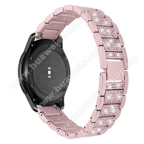 HUAWEI Watch MagicOkosóra szíj - ROSE GOLD - rozsdamentes acél, strassz köves, 22mm széles -  HUAWEI Watch GT / HUAWEI Watch Magic / Watch GT 2 46mm / Honor MagicWatch 2 46mm