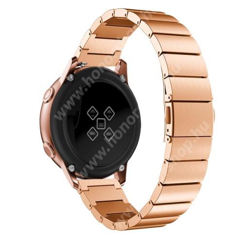 HUAWEI Honor MagicWatch 2 42mm Okosóra szíj - ROSE GOLD - rozsdamentes acél, pillangó csat, 20mm széles, 130mm-215mm csuklóméretig ajánlott - SAMSUNG Galaxy Watch 42mm / Xiaomi Amazfit GTS / SAMSUNG Gear S2 / HUAWEI Watch GT 2 42mm / Galaxy Watch Active / Active 2