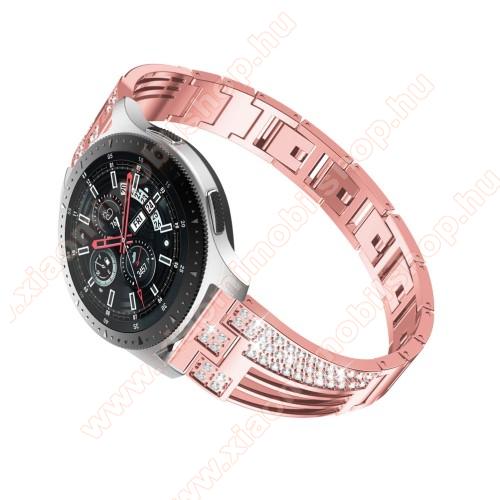 Xiaomi Amazfit PaceOkosóra szíj - ROSE GOLD - rozsdamentes acél, strasszkővel díszített, 180mm hosszú, 22mm széles - HUAWEI Watch GT / SAMSUNG Gear S2 (SM-R720) / HUAWEI Watch GT 2 46mm
