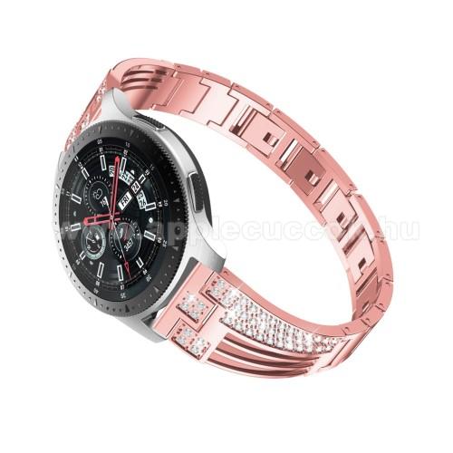 Okosóra szíj - ROSE GOLD - rozsdamentes acél, strasszkővel díszített, 180mm hosszú, 22mm széles - HUAWEI Watch GT / SAMSUNG Gear S2 (SM-R720) / HUAWEI Watch GT 2 46mm