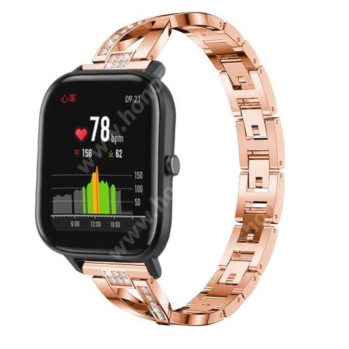 HUAWEI Watch GT 46mm Okosóra szíj - ROSE GOLD - rozsdamentes acél, strassz köves, 22mm széles, 125mm-190mm csuklóméretig ajánlott - HUAWEI Watch GT / HUAWEI Watch Magic / Watch GT 2 46mm