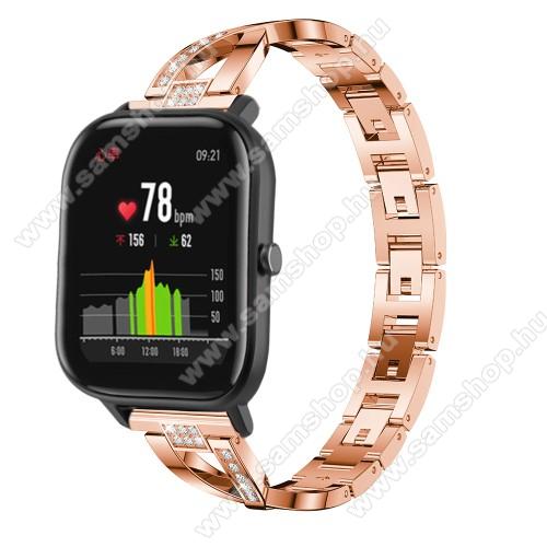 SAMSUNG Galaxy Watch 46mm (SM-R800NZ)Okosóra szíj - ROSE GOLD - rozsdamentes acél, strassz köves, 22mm széles, 125mm-190mm csuklóméretig ajánlott - HUAWEI Watch GT / HUAWEI Watch Magic / Watch GT 2 46mm