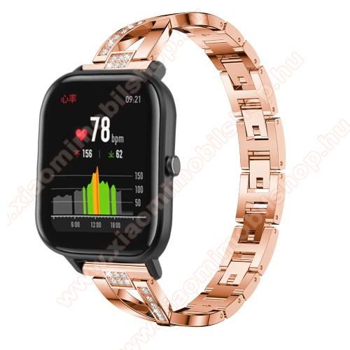 Xiaomi Amazfit PaceOkosóra szíj - ROSE GOLD - rozsdamentes acél, strassz köves, 22mm széles, 125mm-190mm csuklóméretig ajánlott - HUAWEI Watch GT / HUAWEI Watch Magic / Watch GT 2 46mm