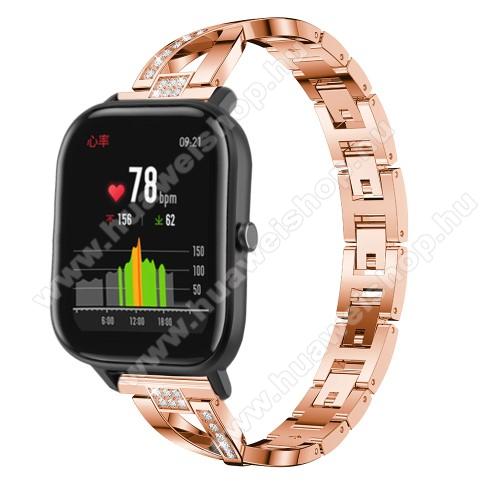 HUAWEI Watch MagicOkosóra szíj - ROSE GOLD - rozsdamentes acél, strassz köves, 22mm széles, 125mm-190mm csuklóméretig ajánlott - HUAWEI Watch GT / HUAWEI Watch Magic / Watch GT 2 46mm