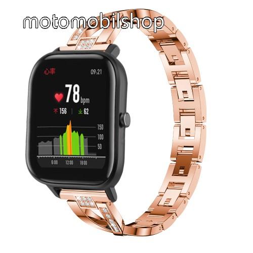 Okosóra szíj - ROSE GOLD - rozsdamentes acél, strassz köves, 22mm széles, 125mm-190mm csuklóméretig ajánlott - HUAWEI Watch GT / HUAWEI Watch Magic / Watch GT 2 46mm