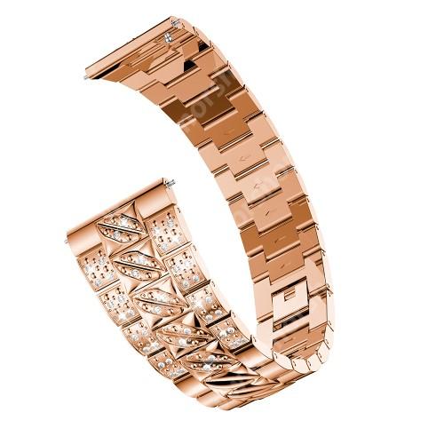 Okosóra szíj - ROSE GOLD - rozsdamentes acél, strasszkővel díszített, 22mm széles - SAMSUNG Galaxy Watch 46mm / SAMSUNG Gear S3 Classic / Gear S3 Frontier / Honor MagicWatch 2 46mm