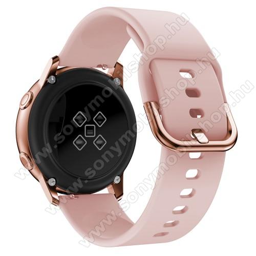 Okosóra szíj - RÓZSASZÍN - szilikon - 83mm + 116mm hosszú, 20mm széles, 130mm-től 205mm-es méretű csuklóig ajánlott - SAMSUNG Galaxy Watch 42mm / Xiaomi Amazfit GTS / SAMSUNG Gear S2 / HUAWEI Watch GT 2 42mm / Galaxy Watch Active / Active 2