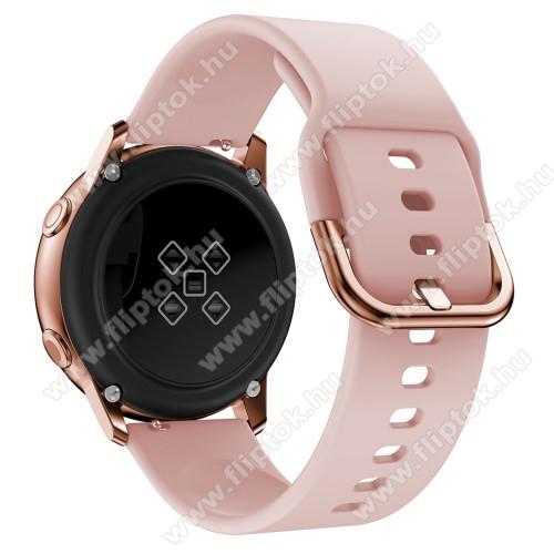 EVOLVEO SPORTWATCH M1SOkosóra szíj - RÓZSASZÍN - szilikon - 83mm + 116mm hosszú, 20mm széles, 130mm-től 205mm-es méretű csuklóig ajánlott - SAMSUNG Galaxy Watch 42mm / Xiaomi Amazfit GTS / SAMSUNG Gear S2 / HUAWEI Watch GT 2 42mm / Galaxy Watch Active / Active 2