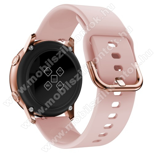 Okosóra szíj - RÓZSASZÍN - szilikon - 83mm + 116mm hosszú, 20mm széles, 130mm-től 205mm-es méretű csuklóig ajánlott - SAMSUNG Galaxy Watch 42mm / Xiaomi Amazfit GTS / SAMSUNG Gear S2 / HUAWEI Watch GT 2 42mm / Galaxy Watch Active / Active 2