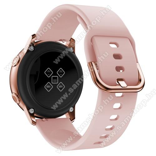 SAMSUNG Galaxy Gear Sport (SM-R600)Okosóra szíj - RÓZSASZÍN - szilikon - 83mm + 116mm hosszú, 20mm széles, 130mm-től 205mm-es méretű csuklóig ajánlott - SAMSUNG Galaxy Watch 42mm / Xiaomi Amazfit GTS / SAMSUNG Gear S2 / HUAWEI Watch GT 2 42mm / Galaxy Watch Active / Active 2