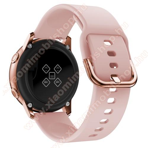 Xiaomi Amazfit Youth EditionOkosóra szíj - RÓZSASZÍN - szilikon - 83mm + 116mm hosszú, 20mm széles, 130mm-től 205mm-es méretű csuklóig ajánlott - SAMSUNG Galaxy Watch 42mm / Xiaomi Amazfit GTS / SAMSUNG Gear S2 / HUAWEI Watch GT 2 42mm / Galaxy Watch Active / Active 2